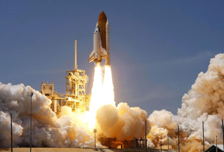 U.S. space shuttle Atlantis lifted off on Friday afternoon from Kennedy Space Center in Florida
