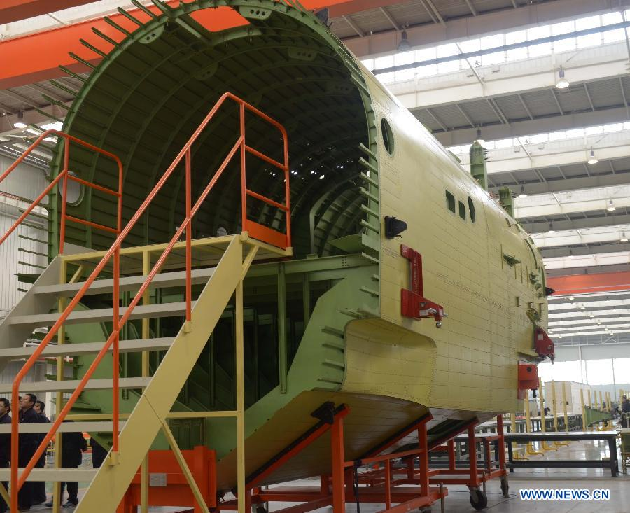 Fuselage mid-section of China's amphibious aircraft AG600 completed