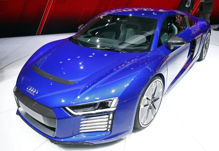 The New Audi R8 E Tron Electric Car Is Seen During The First Press Day  Ahead Of The 85th International Motor Show In Geneva March 3, 2015.