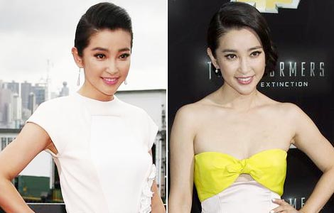 "Li Bingbing's dresses at ""Transformer 4' premieres"