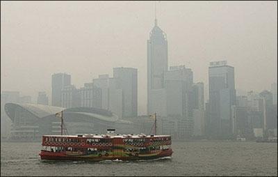 view of Hong Kong shrouded in smog. The Hong Kong government has ...