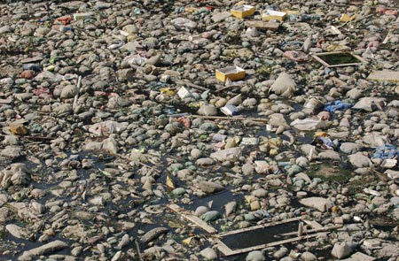 Rubbish floats on a river crossing the city of Hefei, east China's Anhui province, November 9, 2006. China's pollution problems have damaged 10 million hectares, or one tenth, of the country's arable land, said the environment watchdog Tuesday as it called for expanding grass- roots monitoring staff in the rural areas, Xinhua News Agency reported.