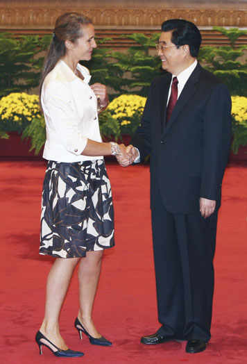 princess elena of spain. Hu greets Spain#39;s princess