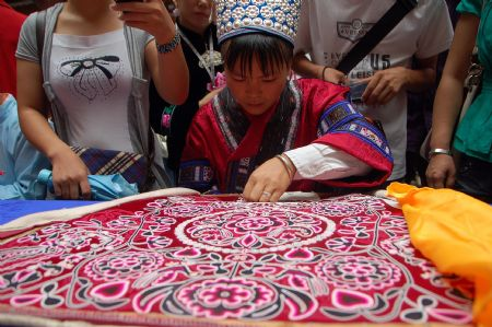 Traditional handicraft competition held in Kaili, SW China
