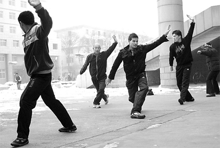 Afghani students learn kungfu at Taiyuan University of Technology. Photos by Brendan Worrell