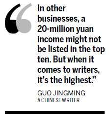 Guo Jingming tops rich writers' list