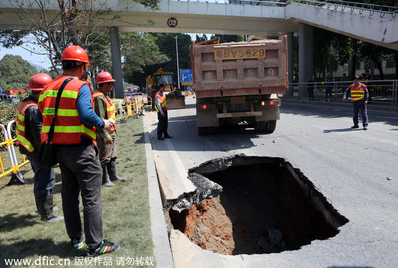 Recurring road cave-ins in S China[1]- Chinadaily.com.cn