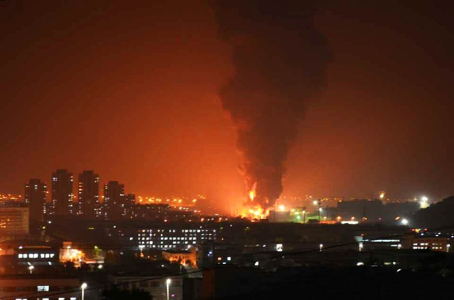 Crude oil spill causes NE China blaze