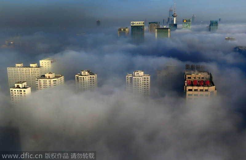 Shenyang, capital city of Northeast China's Liaoning province, is shrouded in heavy smog, Nov 21, 2014. Visibility in some parts of   Liaoning was less than 20 meters as the provincial meteorological authorities issued a red alert. [Photo/IC]