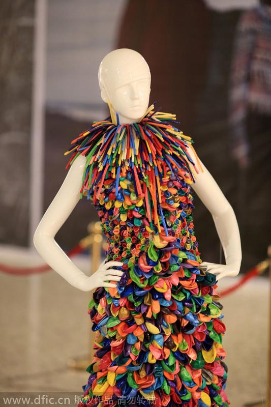Walk down the aisle in balloon dress