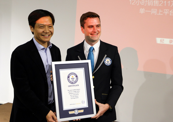 lei jun ceo of xiaomi receives a certificate rewarded by guinness world records on april 9 2015 photo provided to chinadailycomcn