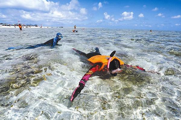线上百家乐:游客体验潜水在银宇,一个在中国南部海南省的西沙群岛