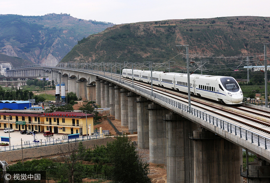 Bullet train connects NW region to the rest of China
