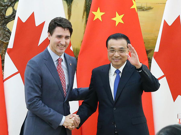 Free trade studies agreed on as Li meets with Canadian PM Trudeau