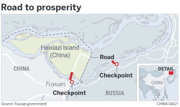 China Russia Border Map on