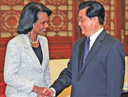 hu, rice commit to sino-us cooperation