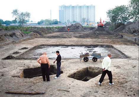 The excavation site of the Jin Dynasty (1115-1234) Royal Palace in Fengtai district. Provided to China Daily