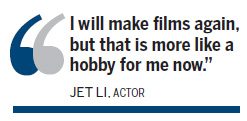Jet Li shifts focus to charity, tai chi