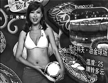 ... bikini while hosting a late-night weather forecast program on Guangdong ...