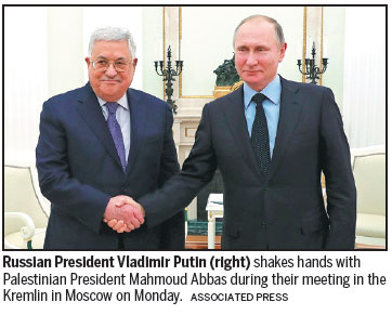 Abbas meets Putin in push for support