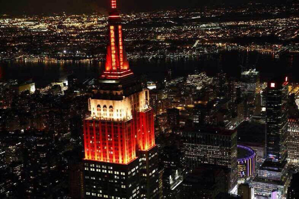 Empire State Building turns red and yellow[1]