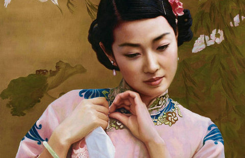 EM Qipao \/EM beauty in Chinese oil paintings