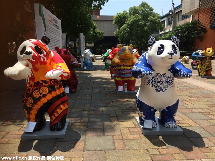 colorful panda sculptures represent chengdu 1 chinadaily com cn