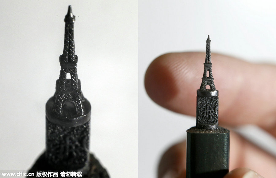 Talented artist makes tiny pencil lead sculptures[1] chinadaily.com.cn