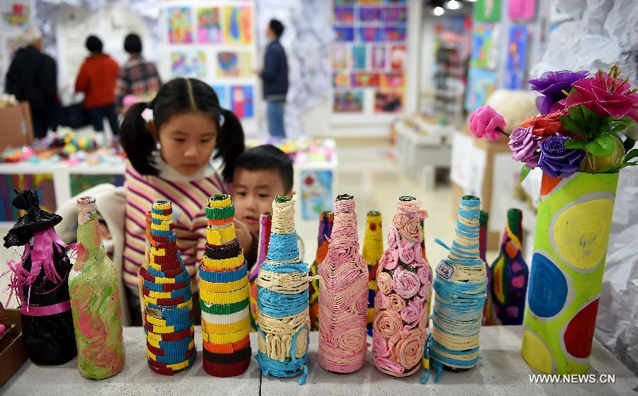 Exhibition of children 39 s creative ideas held in haikou 1 for Creative ideas from waste materials for kids