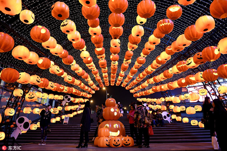 Sea of Halloween pumpkin lanterns lights up Shenyang[2 ...