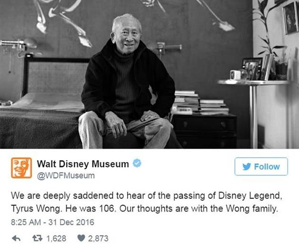 Tyrus Wong, pioneer 'Bambi' artist, dies at 106 - Culture