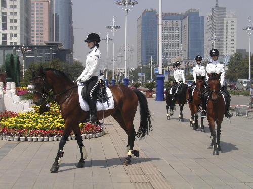 女子骑警队亮相钢城