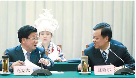 图为贵州省委书记赵克志与省长陈敏尔 中国日报/冯永斌