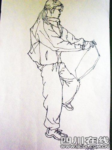 小孩模特的手绘图