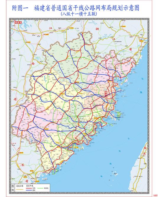 规划图 今天下午,记者从省交通运输厅获悉,近日省政府正式批复了《福建省普通国省干线公路网布局规划》(2012-2030年),确定了八纵十一横十五联线路,将实现全省所有县级及以上行政中心连通普通国道、全省929个乡镇和重要旅游景区全部通上三级及以上干线公路、全省所有高速公路通道都布设普通国省干线作为应急替代线路。 据省交通运输厅有关负责人介绍,我省原国道线路规划于1982年,总里程约2133公里,由5条国道形成两纵两横布局,已于2010年底全部建成通车;原省道线路规划于2001年,总里程约6403公