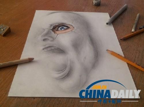 荷兰艺术家打造逼真3d素描画