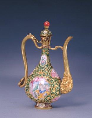 古代酒壶-金胎錾胎珐琅嵌画珐琅执壶