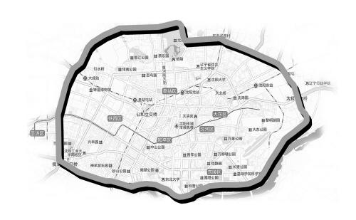 即沈阳地图中所呈现的白山路,重工北街,揽军路,玉屏路,沈水路,新立堡