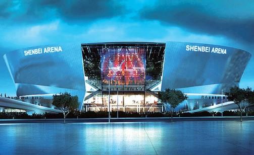 国际_选址道义国际新城,观众坐席1.8万个 首次使用柔性玻璃幕墙