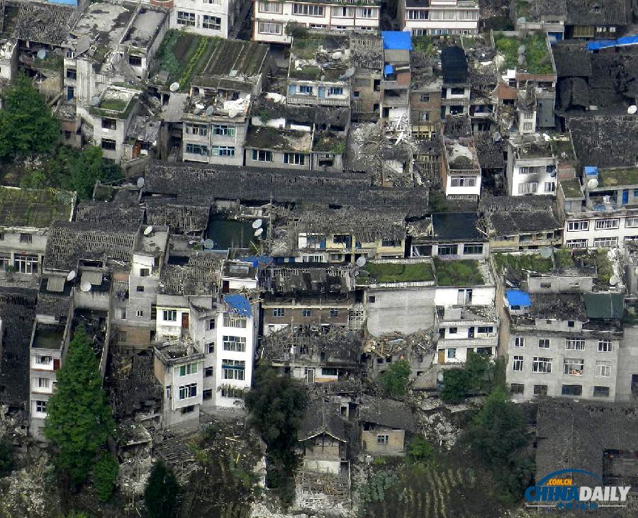 高清:空中直击四川芦山地震现场已有47人死亡