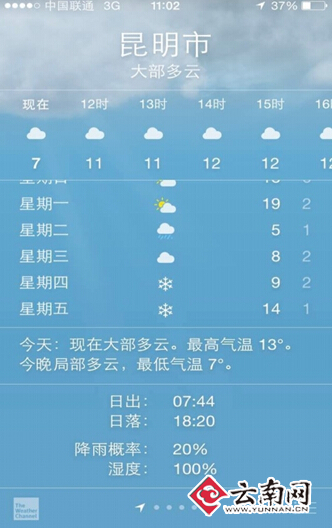 苹果手机预报的天气-苹果手机闹乌龙 昆明今明下雪 气象专家 爱疯 疯了