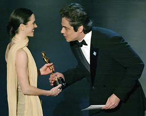 Jennifer Connelly is presented her Oscar for Best Actress ...