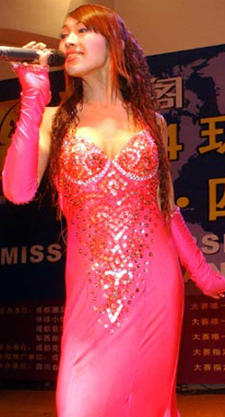 Chen Lili, a Chinese transsexual, sings during the Sichuan regional ...