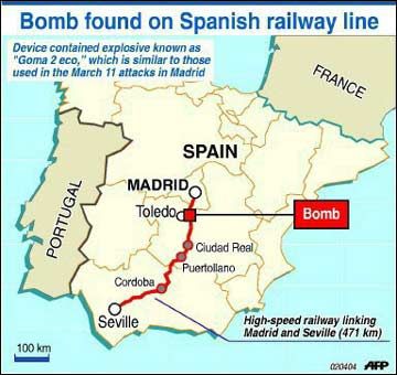 Map Of Spain Showing Seville.26 Pound Bomb Found On Spanish Rail Line