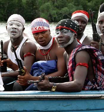 Niger Delta rebels in a boat