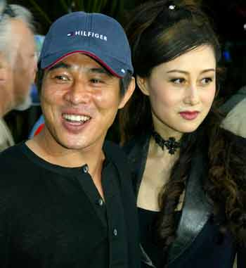 Jet Li beautiful wallpaper with wife Nina