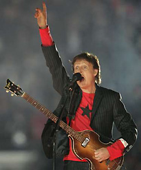 Sir Paul McCartney Performs During The Super Bowl XXXIX Halftime Show February 6 2005 Performed A Number Of His Famous Hit Songs As Member