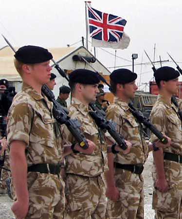 British soldiers stand in formation in the southern Iraqi city of Samawa March 7. [Reuters/file]