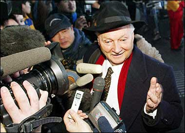The United Nations said the UN envoy to North Korea, Canadian Maurice Strong, seen here in 2003, would be replaced during a probe into his ties with a lobbyist accused in the Iraq oil-for-food scandal.(AFP/