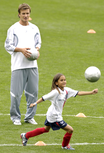 pictures of david beckham playing soccer. British soccer star David